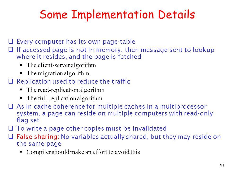 Some Implementation Details