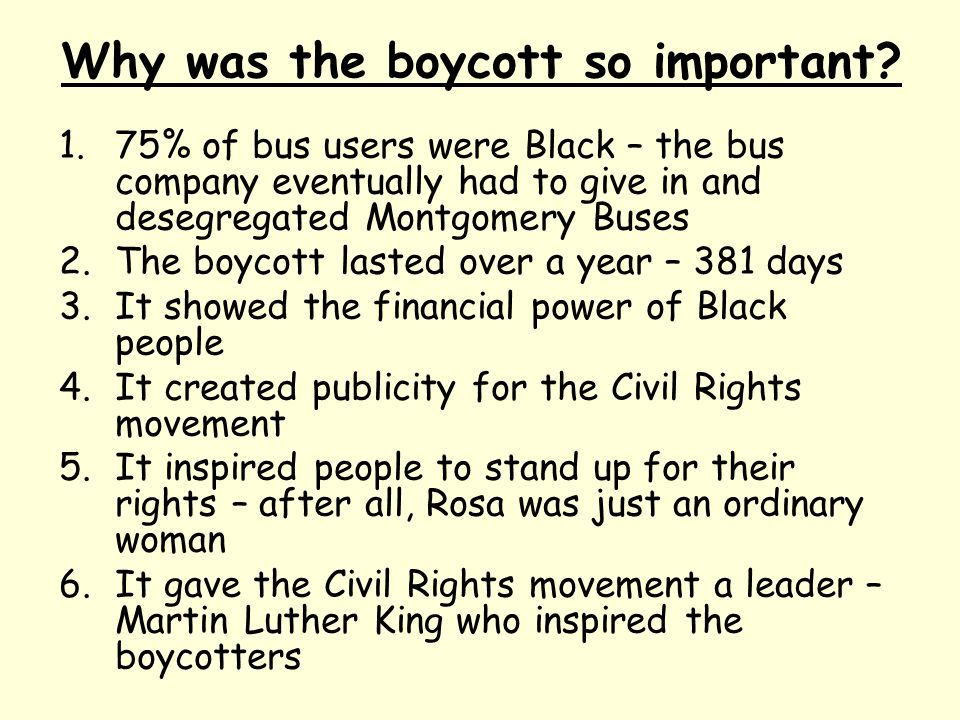 Why was the boycott so important