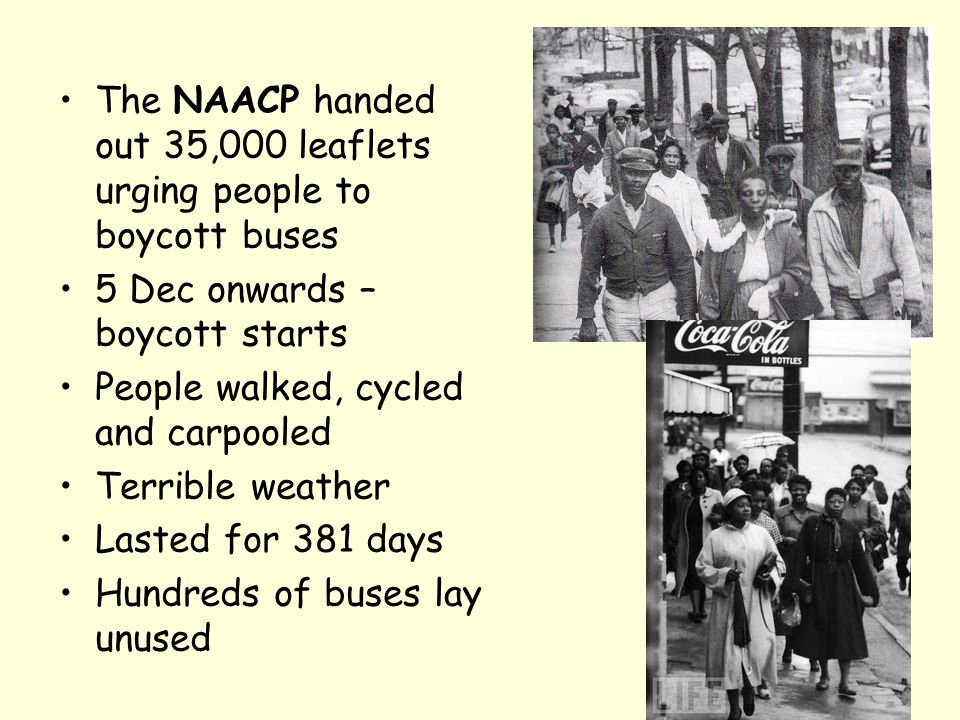 The NAACP handed out 35,000 leaflets urging people to boycott buses