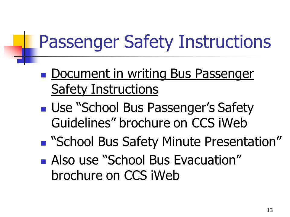 Passenger Safety Instructions