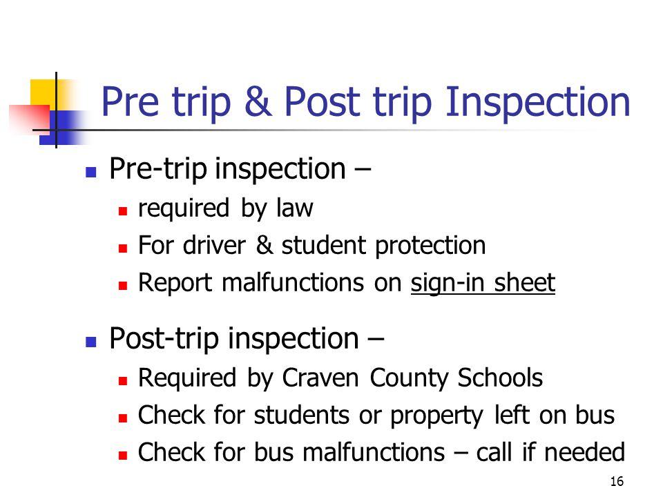 Pre trip & Post trip Inspection