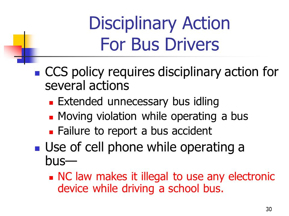 Disciplinary Action For Bus Drivers
