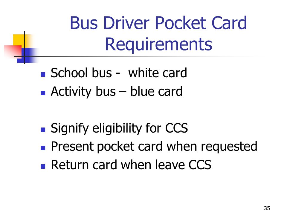 Bus Driver Pocket Card Requirements