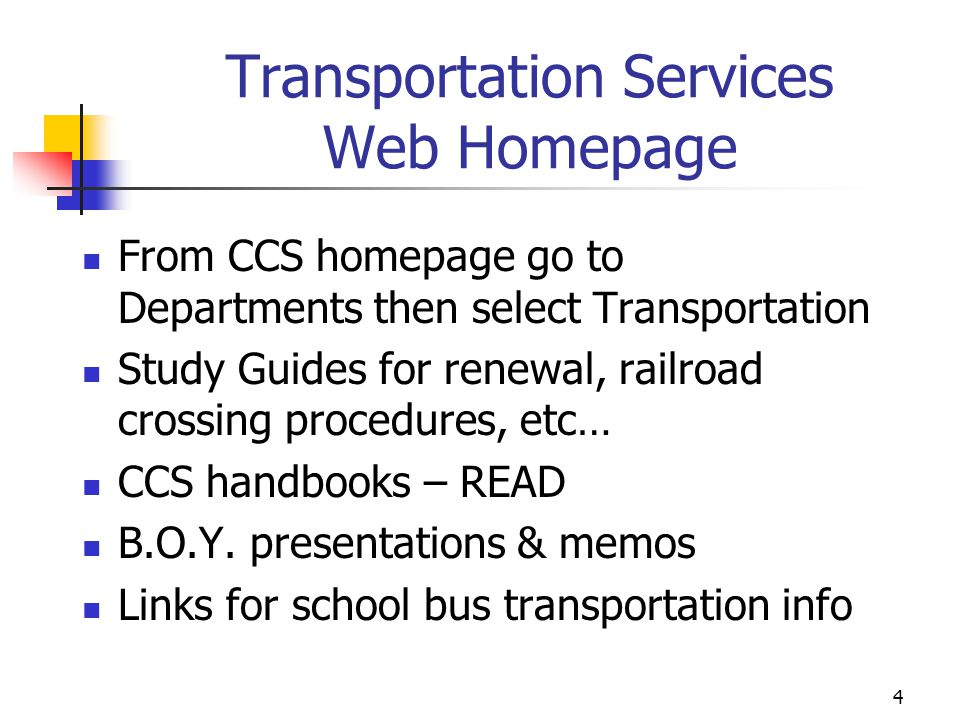 Transportation Services Web Homepage
