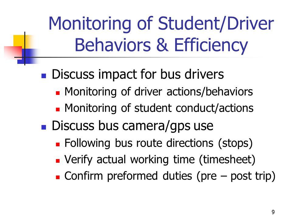 Monitoring of Student/Driver Behaviors & Efficiency