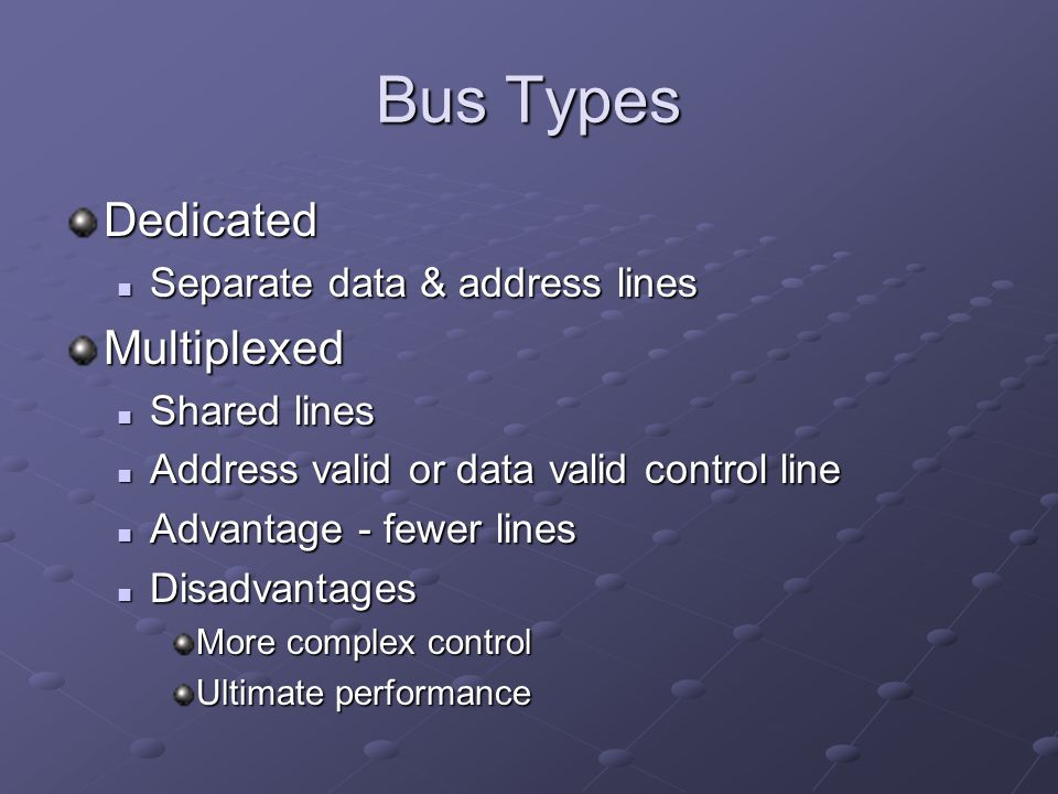 Bus Types Dedicated Multiplexed Separate data & address lines