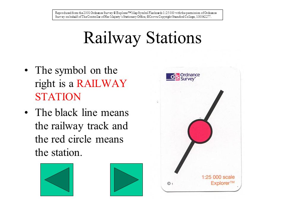 Railway Stations The symbol on the right is a RAILWAY STATION