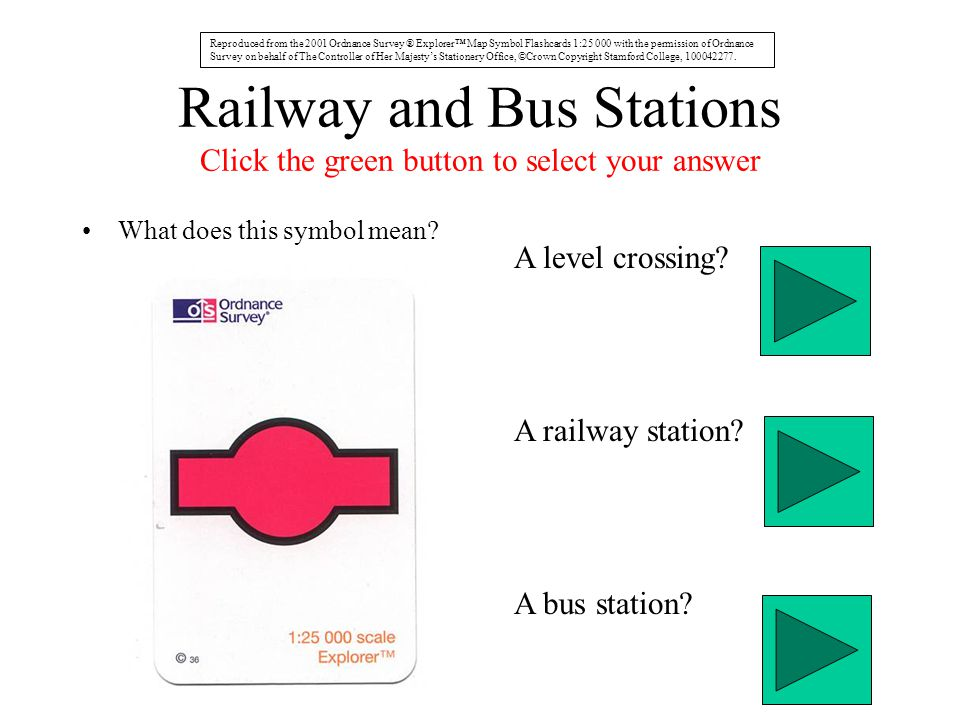 Railway and Bus Stations Click the green button to select your answer