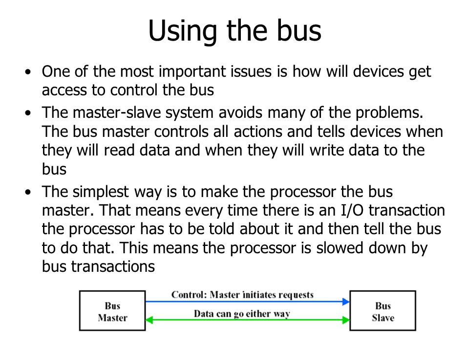 Using the bus One of the most important issues is how will devices get access to control the bus.