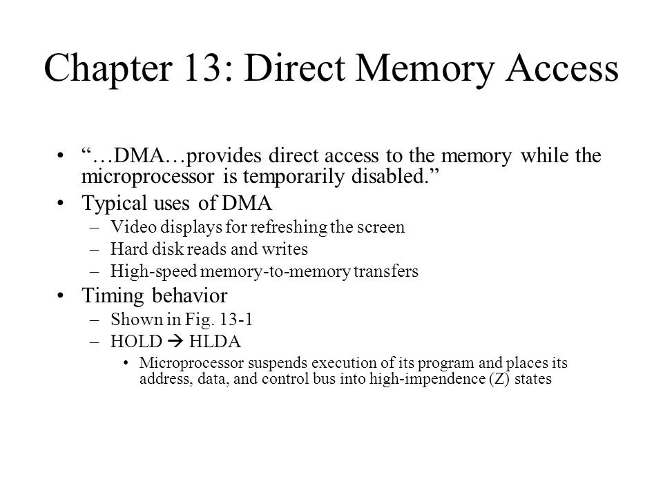 Chapter 13: Direct Memory Access