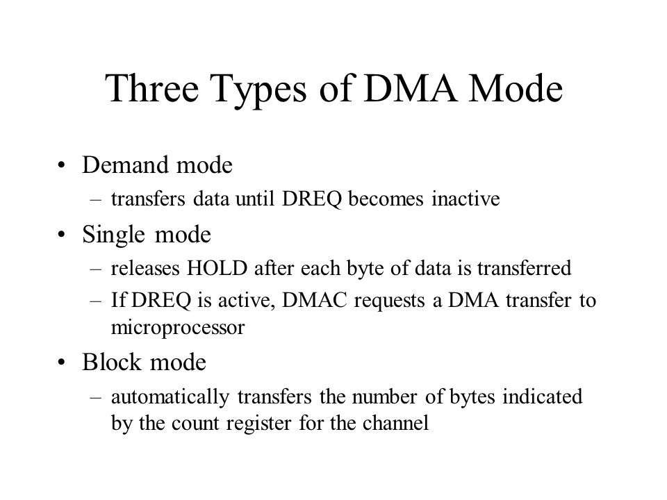 Three Types of DMA Mode Demand mode Single mode Block mode
