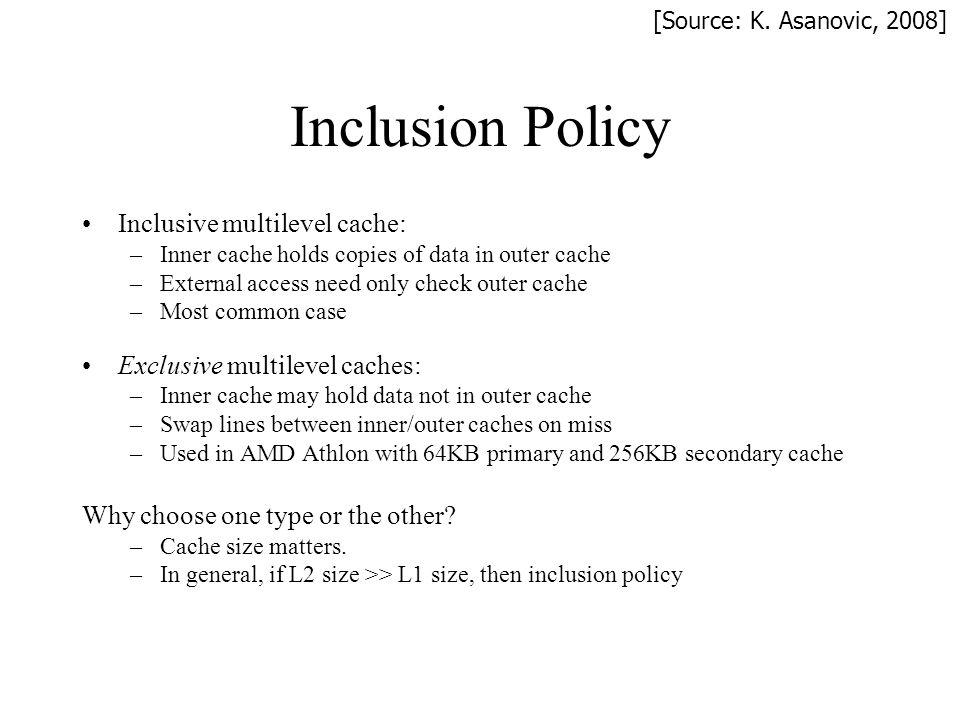 Inclusion Policy Inclusive multilevel cache: