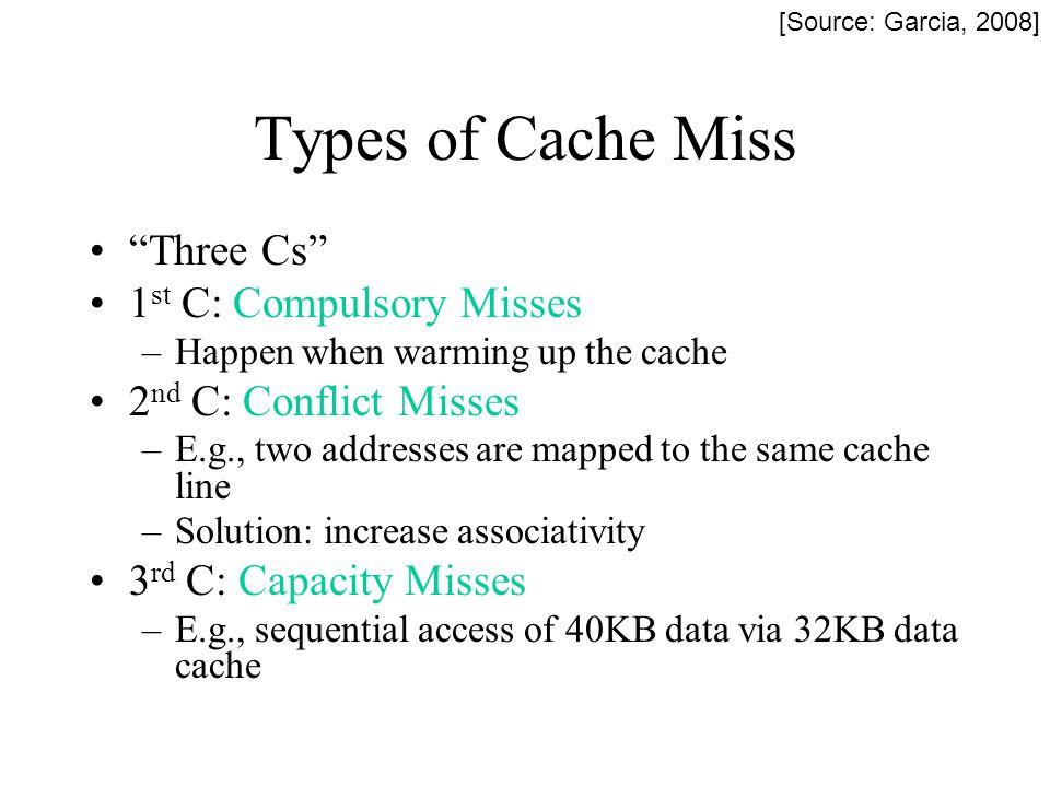 Types of Cache Miss Three Cs 1st C: Compulsory Misses