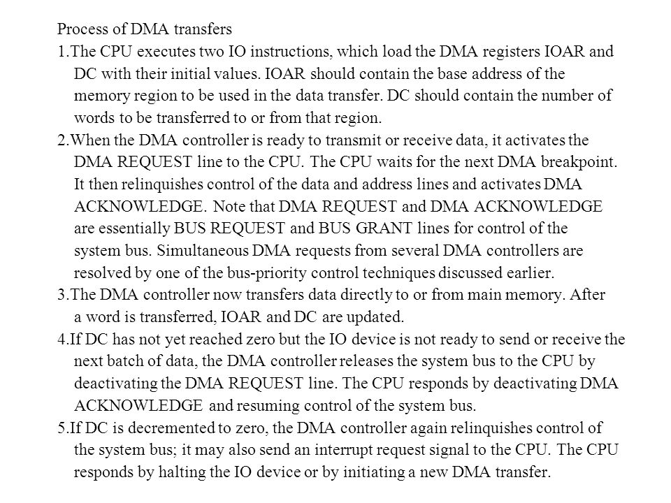Process of DMA transfers