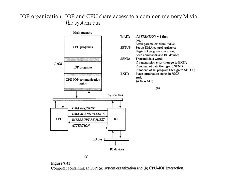 IOP organization : IOP and CPU share access to a common memory M via