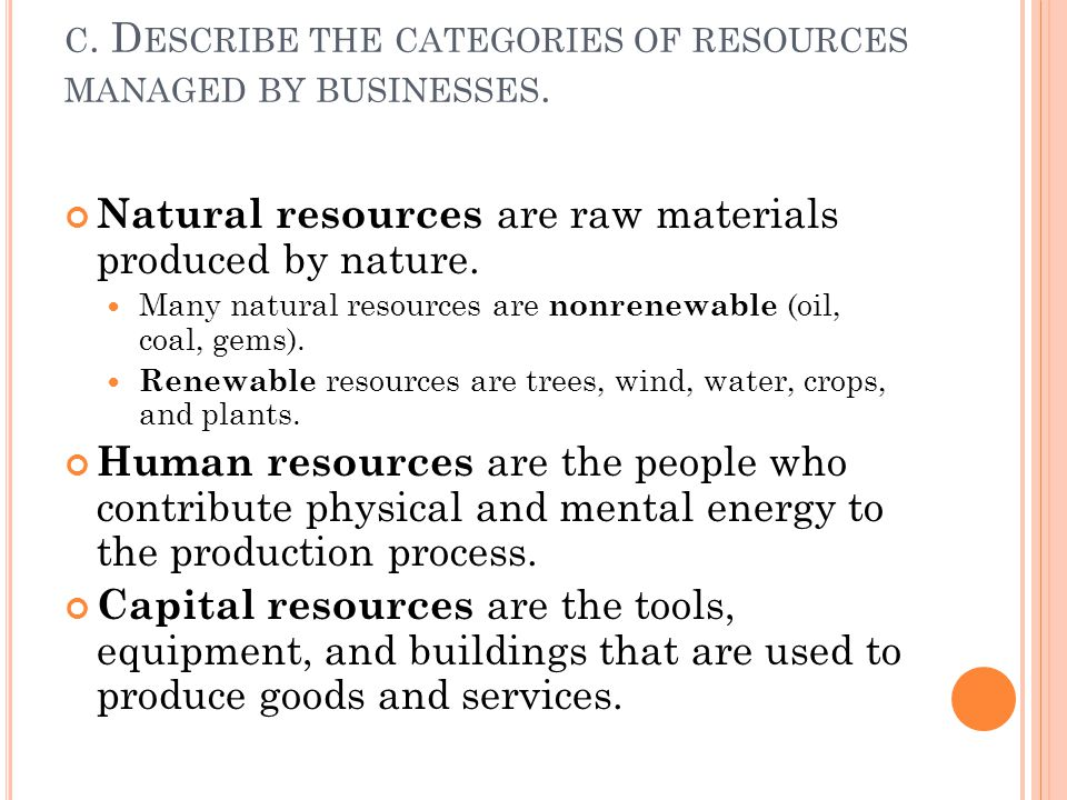 c. Describe the categories of resources managed by businesses.