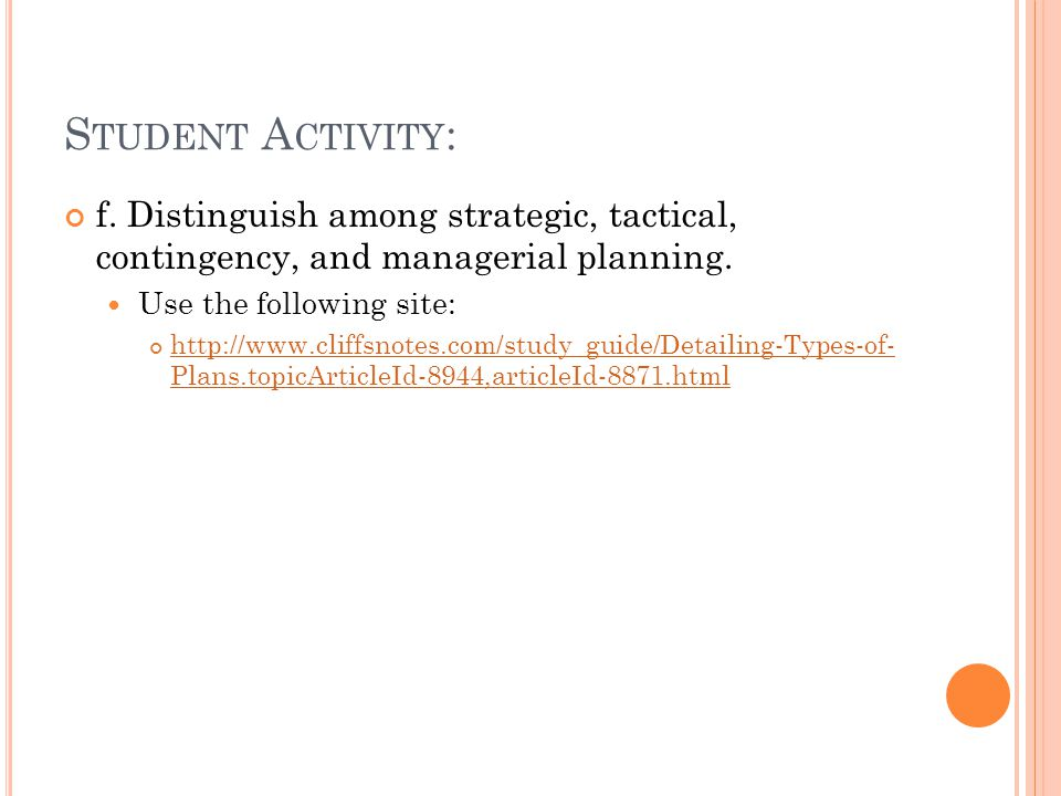 Student Activity: f. Distinguish among strategic, tactical, contingency, and managerial planning. Use the following site: