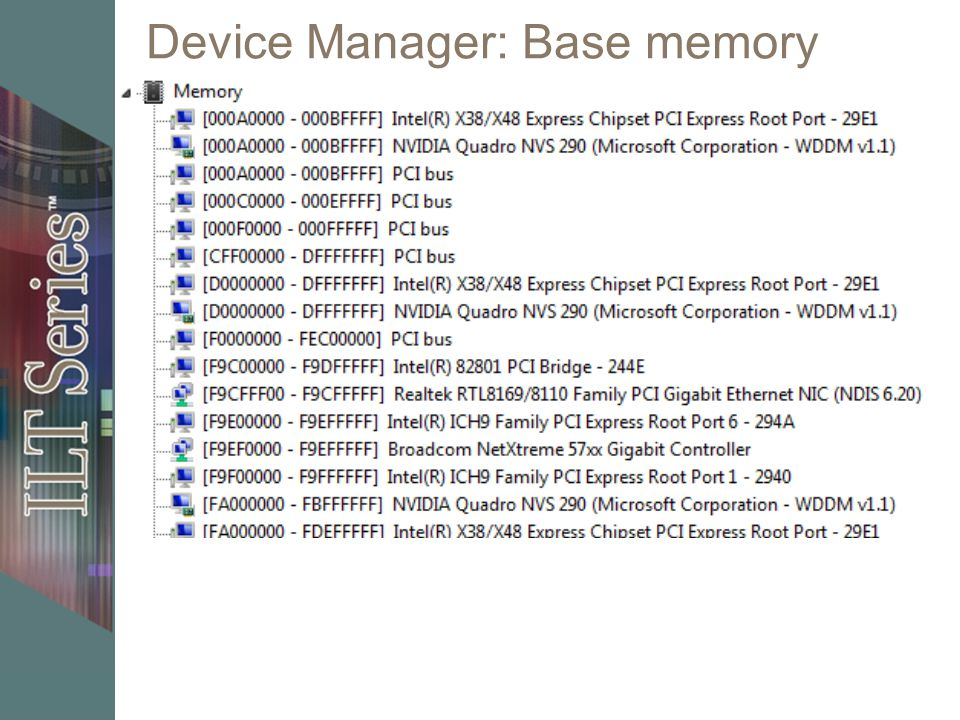 Device Manager: Base memory