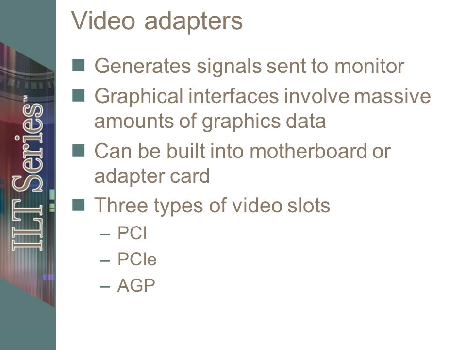 Video adapters Generates signals sent to monitor