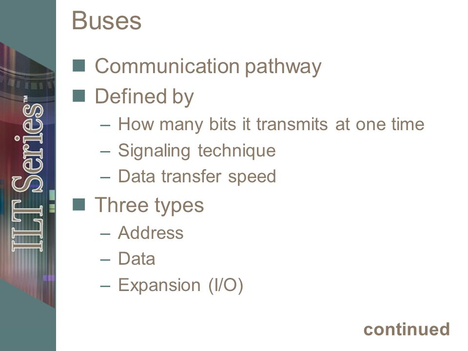 Buses Communication pathway Defined by Three types