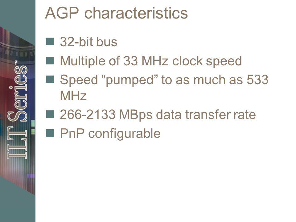 AGP characteristics 32-bit bus Multiple of 33 MHz clock speed