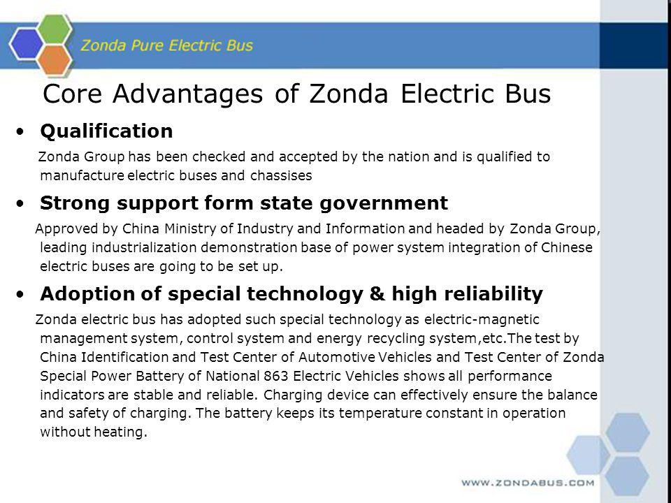 Core Advantages of Zonda Electric Bus