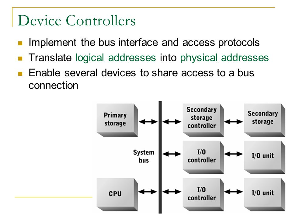 Device Controllers Implement the bus interface and access protocols