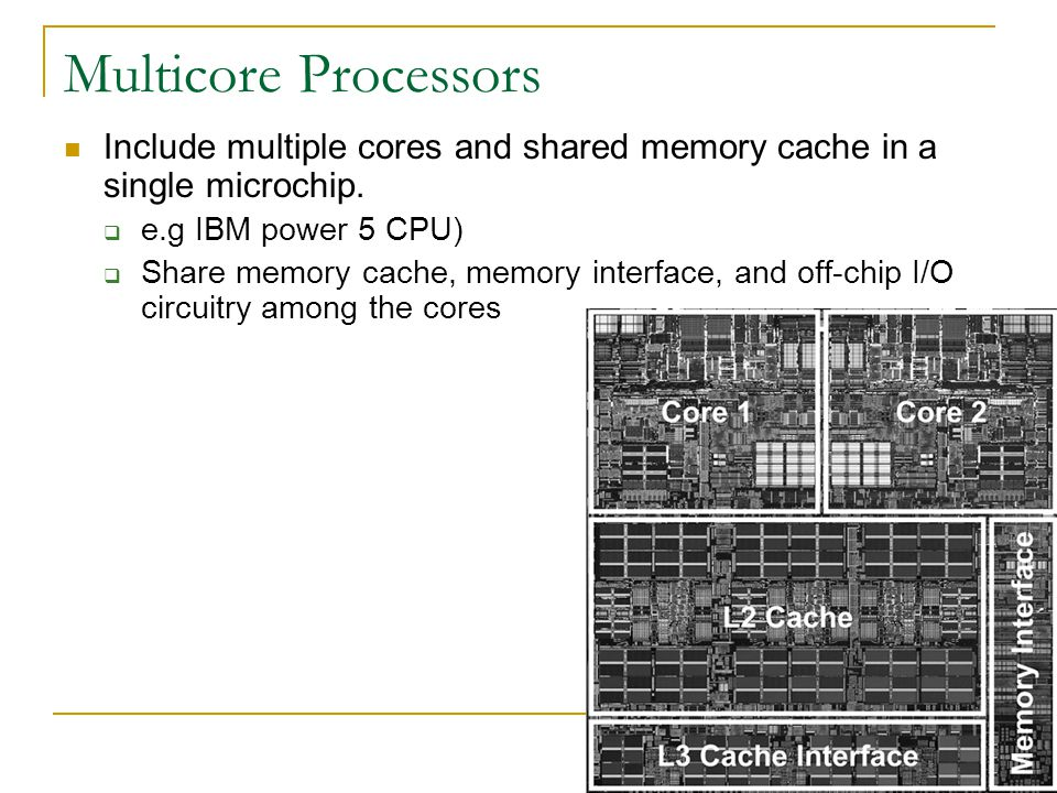 Multicore Processors Include multiple cores and shared memory cache in a single microchip. e.g IBM power 5 CPU)
