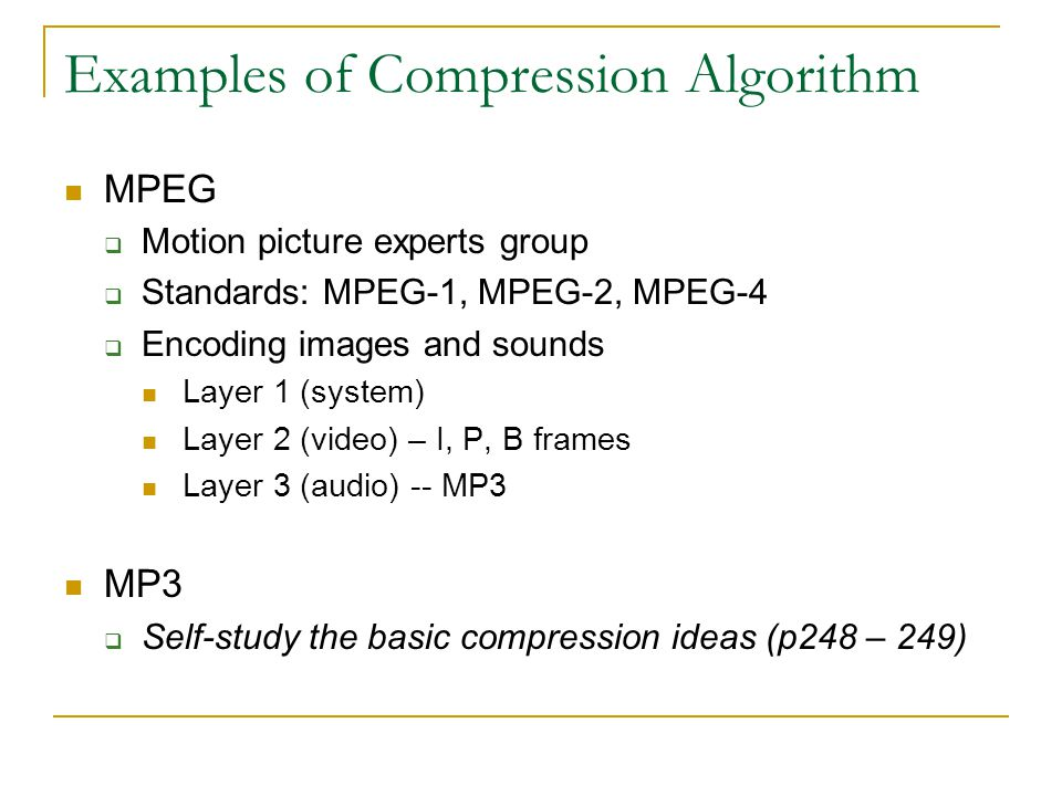 Examples of Compression Algorithm