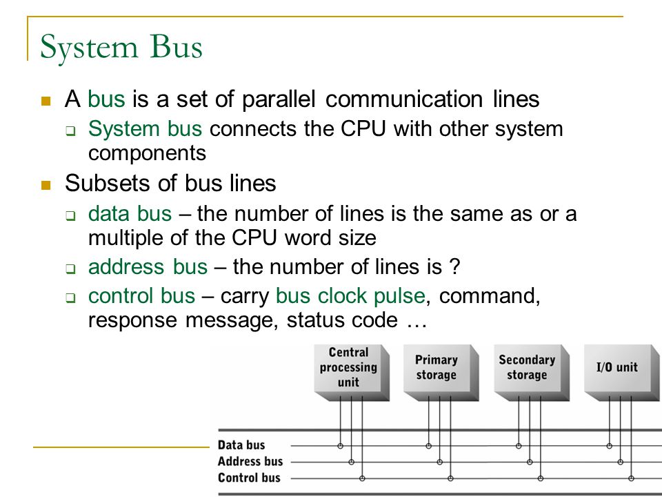 System Bus A bus is a set of parallel communication lines