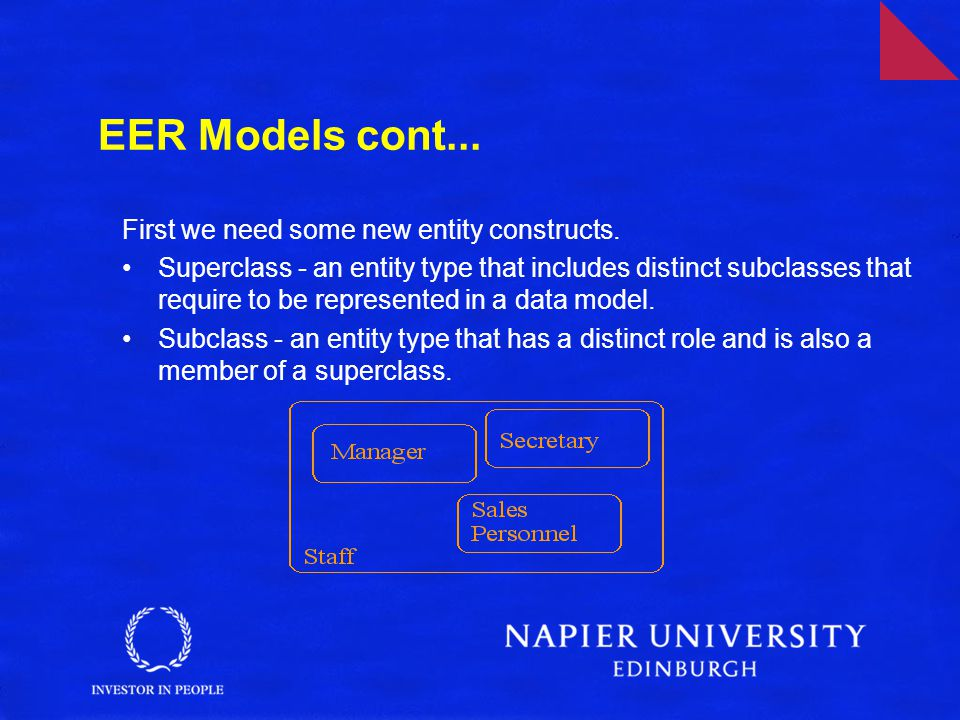EER Models cont... First we need some new entity constructs.