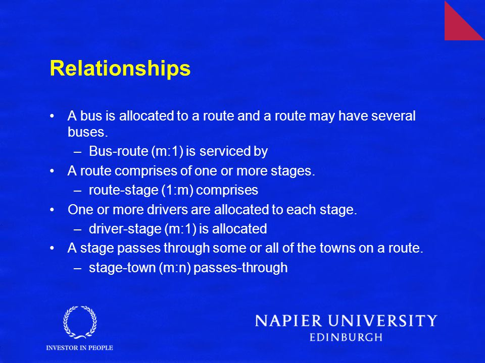 Relationships A bus is allocated to a route and a route may have several buses. Bus-route (m:1) is serviced by.