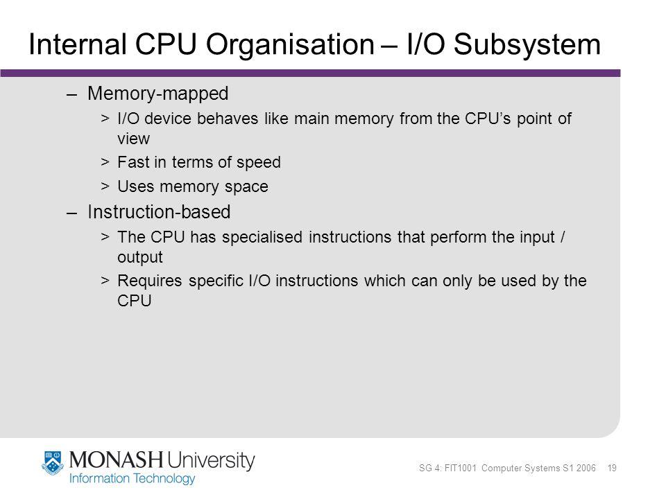 Internal CPU Organisation – I/O Subsystem