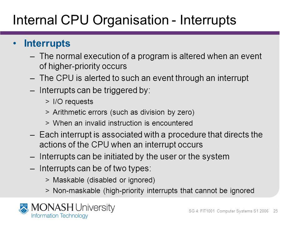Internal CPU Organisation - Interrupts