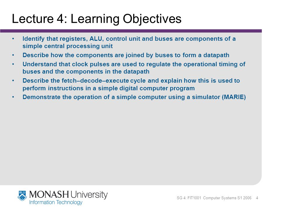 Lecture 4: Learning Objectives