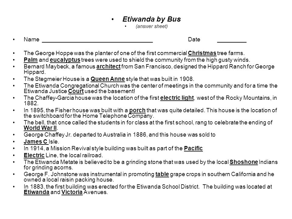 Etiwanda by Bus (answer sheet) Name ___________________________________ Date _________.