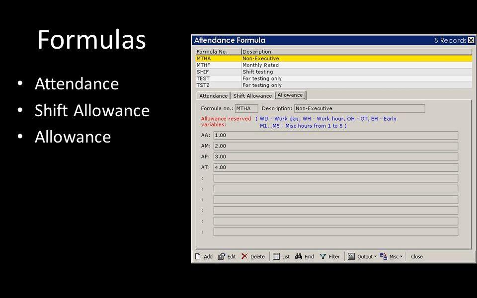 Formulas Attendance Shift Allowance Allowance