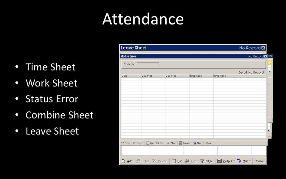 Attendance Time Sheet Work Sheet Status Error Combine Sheet