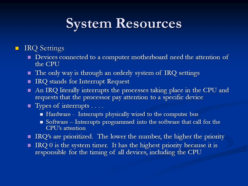 System Resources IRQ Settings