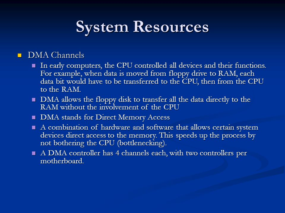 System Resources DMA Channels