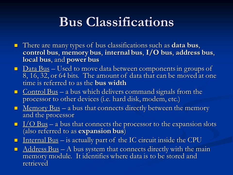 Bus Classifications