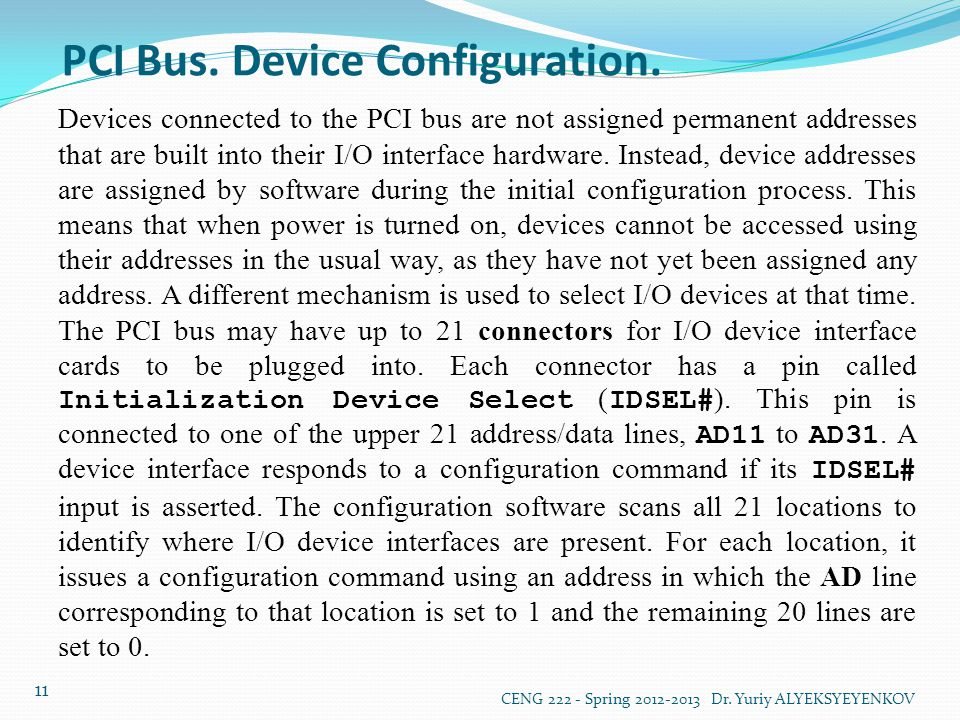 PCI Bus. Device Configuration.