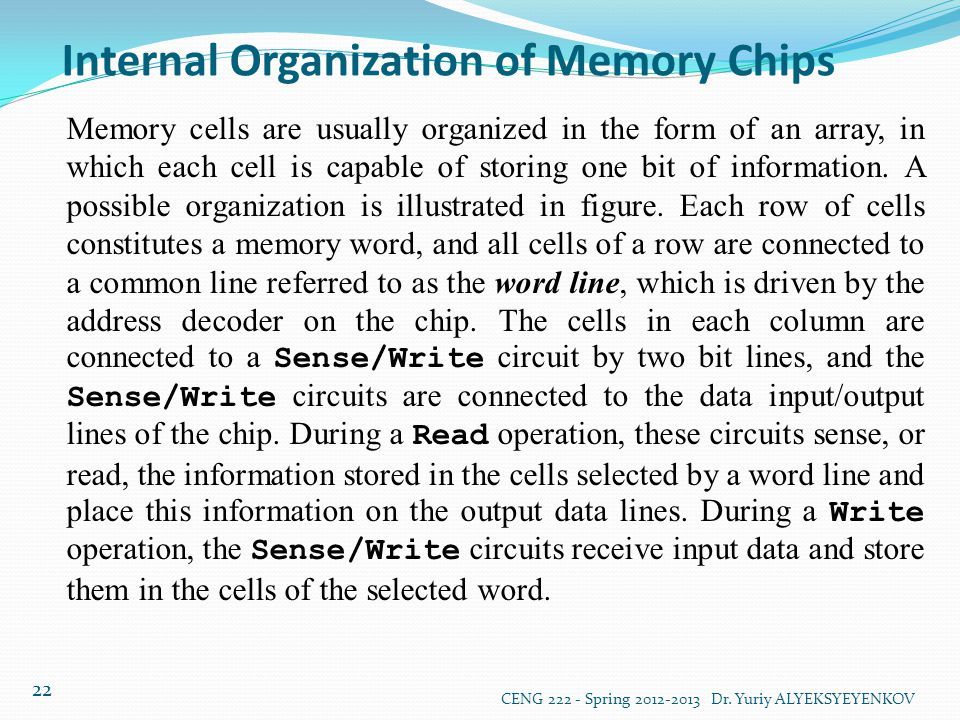Internal Organization of Memory Chips