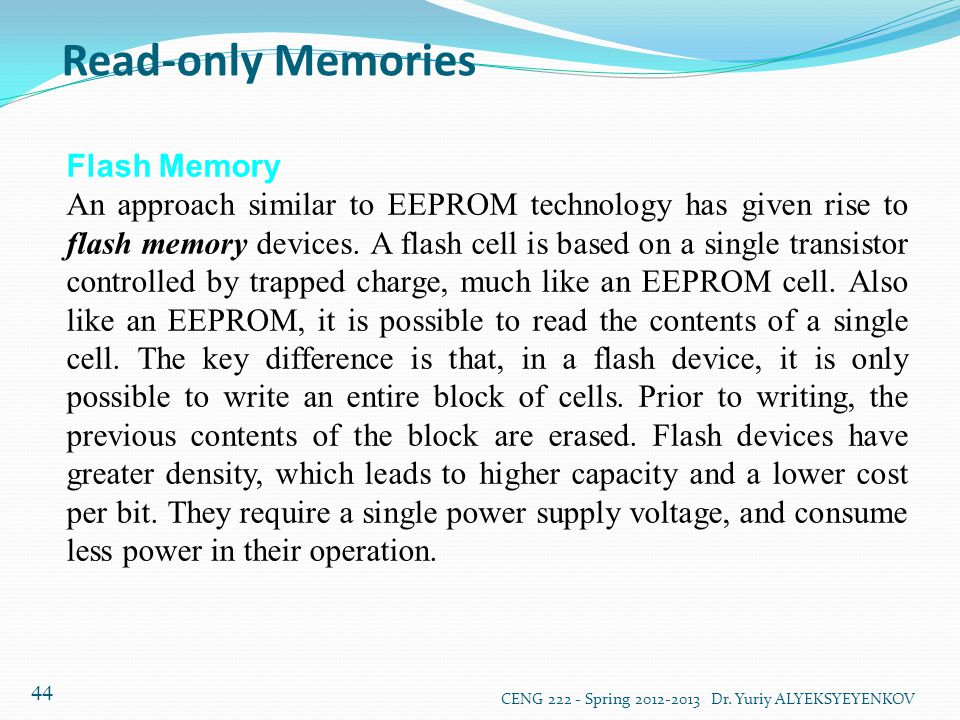 Read-only Memories Flash Memory