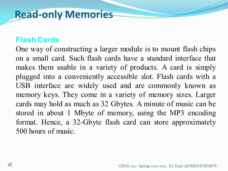 Read-only Memories Flash Cards
