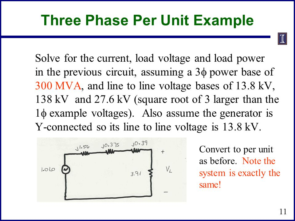 Three Phase Per Unit Example