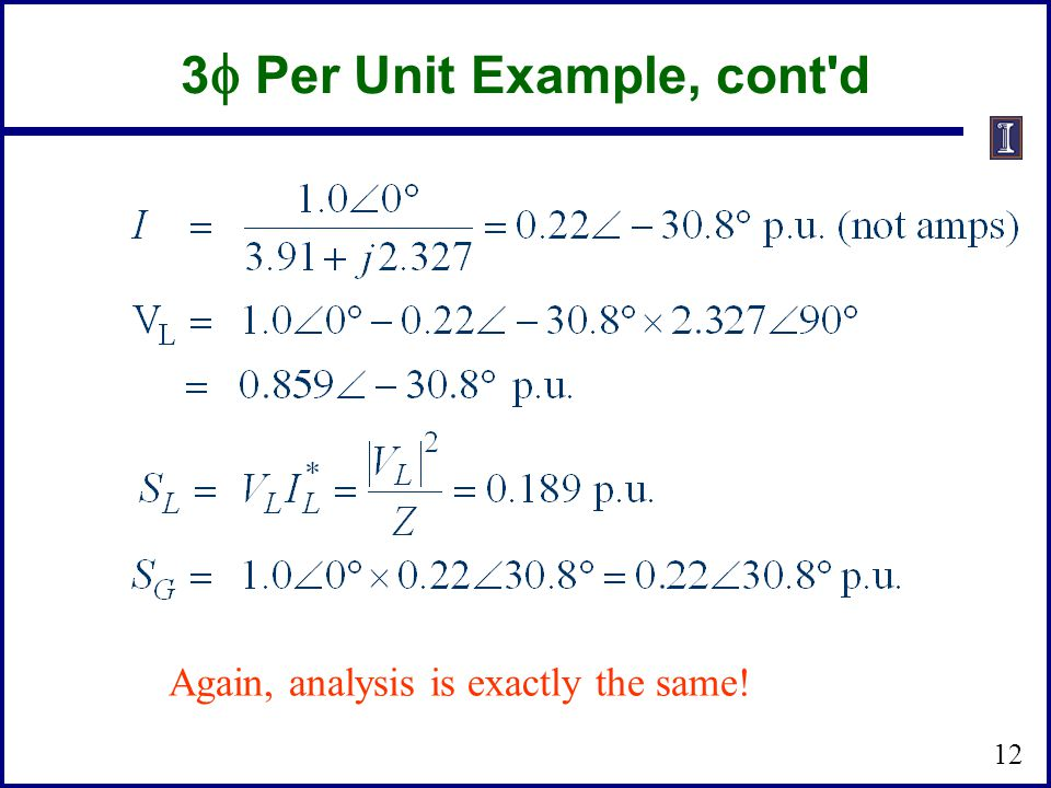 3f Per Unit Example, cont d