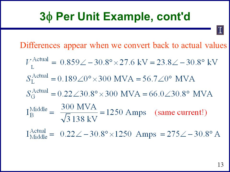 3f Per Unit Example, cont d