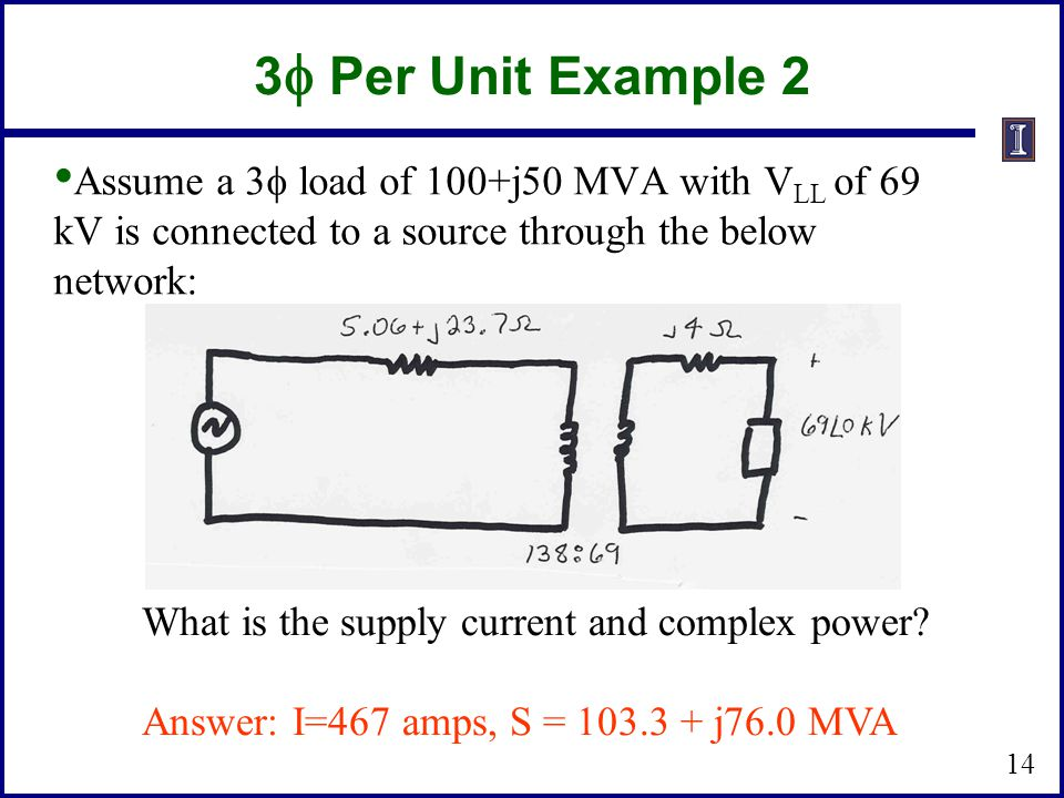 3f Per Unit Example 2 Assume a 3f load of 100+j50 MVA with VLL of 69 kV is connected to a source through the below network: