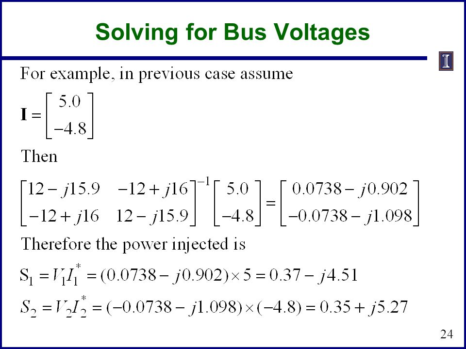 Solving for Bus Voltages
